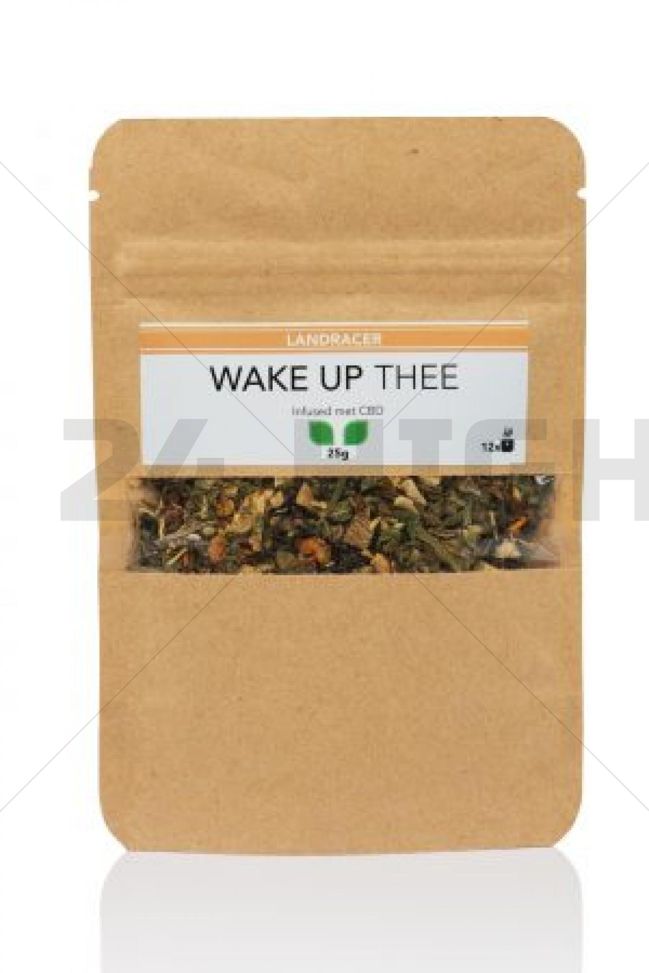 The Landracer wake up tea infused with cannabidiol.